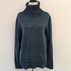 Peruvian Connection Teal Turtleneck Sweater Top L